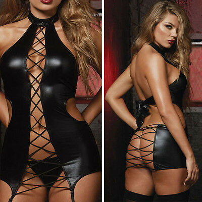 Black Teddy Wet Look Lace Up Cutout Side Boudoir Mini Dress Garter Lingerie M-5X