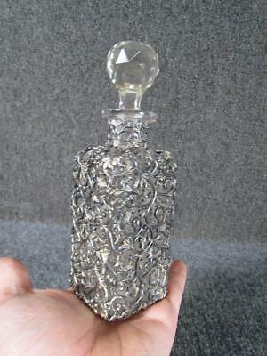 ANTIQUE SILVER PLATE OVERALY LIQUOR DECANTER or COLOGNE BOTTLE