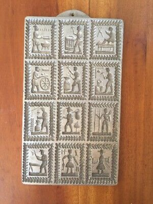 Vintage 12 Panel Pewter Springerle Cookie Mold