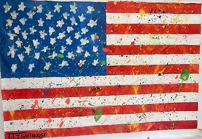"""T Lighthouse """"American Flag"""" Original One Of Kind Acrylic Painting On Canvas H/S"""