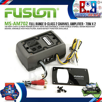Fusion Ms-Am702 2 Channel Marine Zone Amplifier Speakers Amp Boat Rv Outdoor