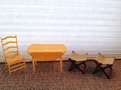 Vintage Barbie Yellow Plastic Kitchen Table & Chair (1970) & Camp Stools