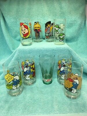 Vintage Mixed Lot Of 9 Collector Drinking Glasses McDonalds, Coke, Smurf, Alvin