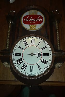Vintage NOS Schaefer Beer Advertising Clock Nautical Bar Sign