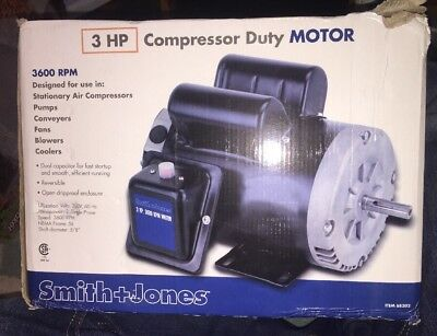 3 HP Compressor Duty Electric Motor, Reversible, 3600 RPM, Single Phase, 230V