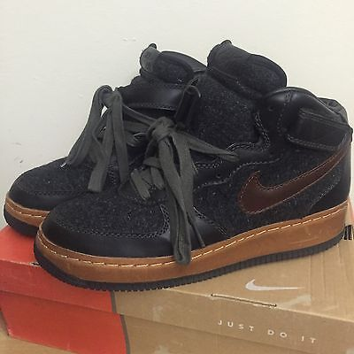half off 76772 df850 2004 Nike Air Force 1 Mid INSIDEOUT Anthracite Black Wool Brown Green (SIZE  9.5)