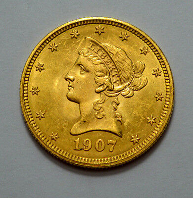 MS UNC 1907 $10 Gold Liberty Head Ten Dollars  Gold US Eagle Coin !!!!