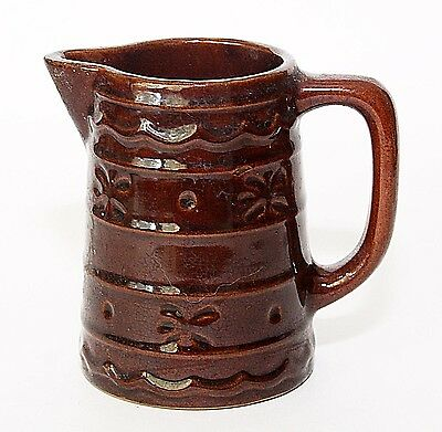 "Marcrest USA Small Pitcher Creamer 4"" Brown Daisy Dot, Vintage"