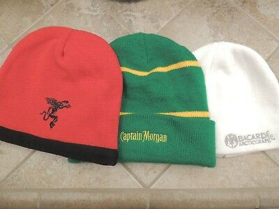 Fireball, Captain Morgan & Bacardi Knit Hats Beanies Lot Of 3