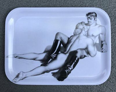 Tom of Finland Lovers Wooden Tray in Black & White