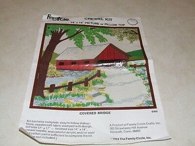 Family Circle Crewel Embroidery Kit - Covered Bridge