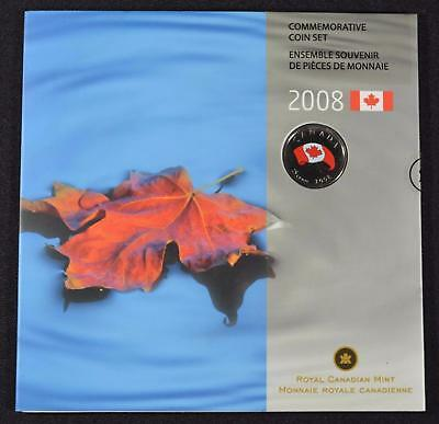 2008 Canada (7) Coin Commemorative Set With Colored Maple Leaf Quarter 25C