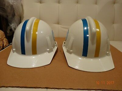 2 Vintage Bell System Telephone Workman Hard Hat Nice Condition Original USA