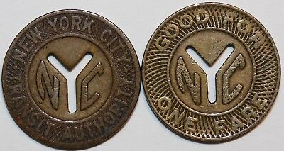 (2)- Subway Tokens - NYC - Small Y Cut Out, 1953 - 69