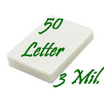 50 pack LETTER Laminating Laminator Pouches Sheets 9 x 11-1/2, 3 Mil