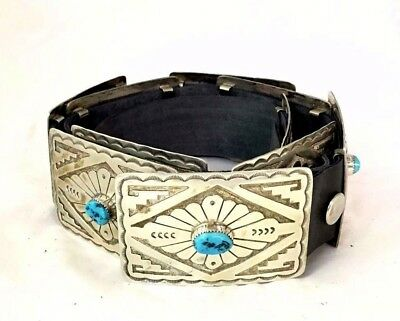 Native American Sterling Silver Sleeping Beauty Turquoise Concho Belt