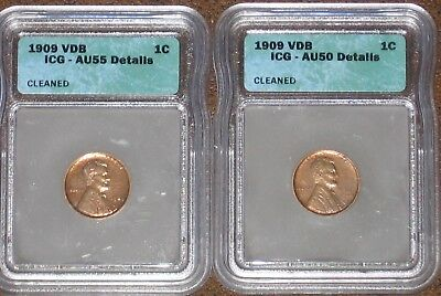1909 VDB Wheat Penny Cent ICG AU Details Graded Certified Almost Uncirculated 1c