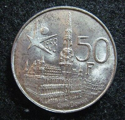 1958 Belgium 50 Francs Brussel's Fair in Coin Alignment Silver BU Nice !