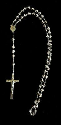 Vintage Religious Peach Crystal Glass Catholic Rosary Beads Necklace  A100