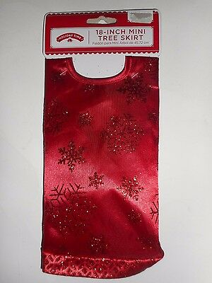 "Red with Red Glitter Snowflake Design Mini Christmas Tree Skirt 18"" New"