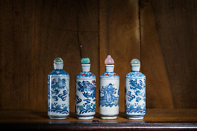 Group Of Four Chinese Antique Porcelain Snuff Bottles