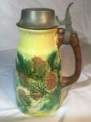 antique Mojolica SYRUP PITCHER with MAPLE LEAVES VERY NICE!!!!