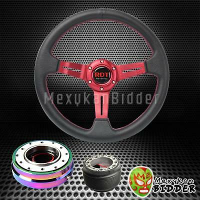 Red Deep Dish Steering Wheel + Neo Chrome Quick Release For Honda Civic 96-00