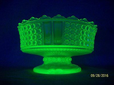 "EAPG ""Daisy & Button"" Vaseline Glass 7.25"" Pedestal Bowl / Compote"