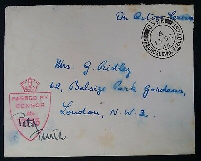 SCARCE 1944 Czechoslovakia (British Mail) Censor Cover w Czech Field Post cancel