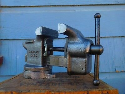Vintage Dunlap 4'' Jaw Swivel Anvil Bench Vise  Heavy Duty Made In Usa ,26 Lbs
