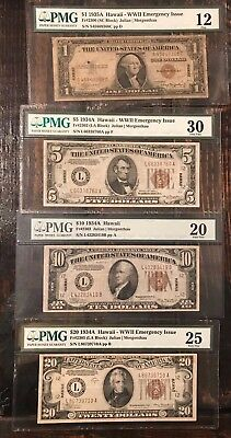 Set 4 HAWAII Note $1 One $5 Five $10 Ten $20 Twenty Dollar All PMG Graded Bills!