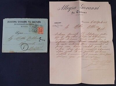 "SCARCE 1905 Italy Allegra Giovanni Letter ties 20c stamp canc Messina ""1d"" taxed"