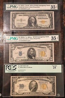 Set 3 North Africa WWII Note $1 One $5 Five $10 Ten Dollar PMG/PCGS Graded Bills