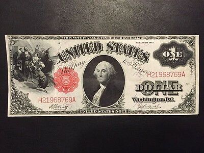 1917 United States $1 One Dollar Red Seal Large Currency Note Paper Money Bill