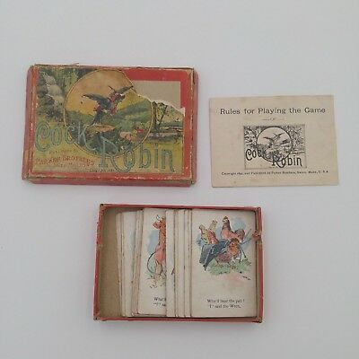 Antique 1895 Cock Robin Victorian Playing Card Game with Box and Instructions