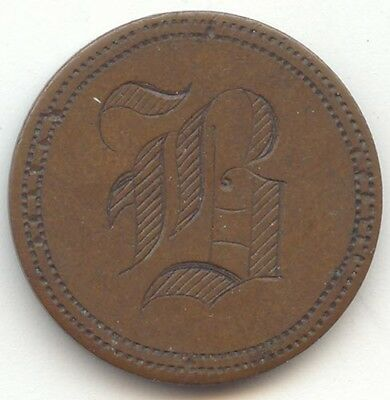 1881 Indian Head Cent Love Token, Letter B