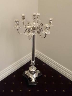 Silver Candelabra with Black Marble Base