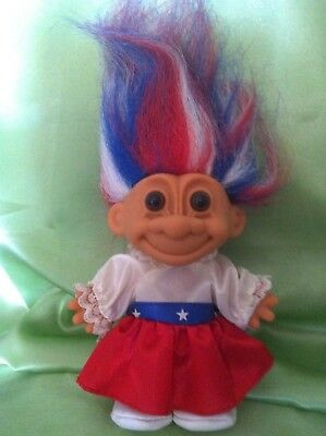 Troll Usa American Red White & Blue Around The World Russ Doll Vintage Toy
