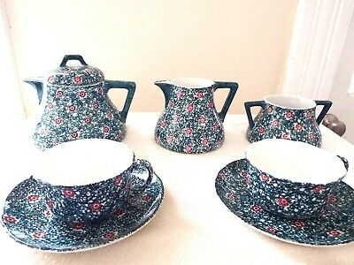 8 Pc Antique Villeroy & Boch Wallerfangen Der Ges Gesch-Reg Germany, Tea Set