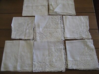 Vintage Lot Of 8 Fancy Embroidered And Lace Wedding Handkerchiefs/Hankies