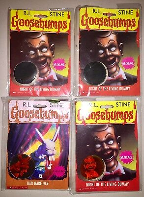 4 New R.L. Stine GOOSEBUMPS Hologram Necklaces! Halloween Party Favors / Treats!