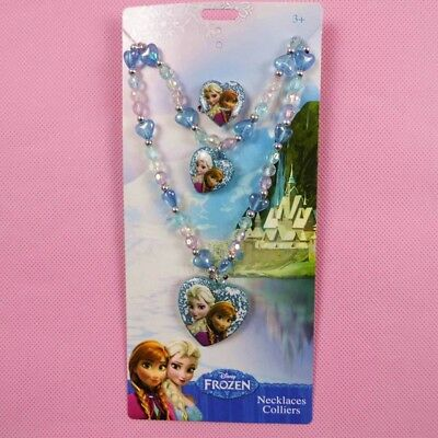 Frozen Sets Kids Presents Elsa Pendant Chunky Bead Necklace+Ring+Hand catenary 3