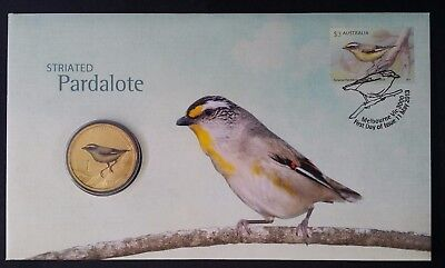 2013 Australia Striated Pardalote PNC with coloured $1 UNC coin & $3 stamp