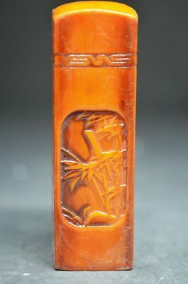 China Exquisite Hand-carved Spring bamboo carving shoushan Stone seal oo13
