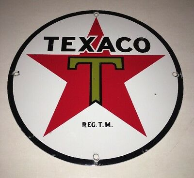 "Vintage Texaco Gasoline Star & Green T 11 3/4"" Porcelain Metal Gas Oil Sign! Nr!"
