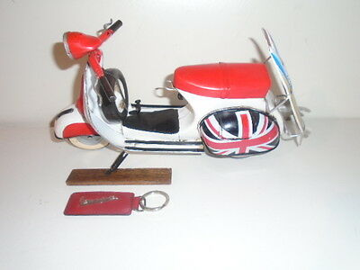 Vespa 1959 Beach Model Scooter Union Jack Tin Toy + Auth. Red Leather Key  Tag