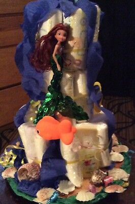 ThreeTier Little Mermaid themed Diaper Cake Baby Shower Centerpiece for a girl