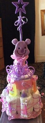 ThreeTier Diaper Cake Baby Shower Centerpiece in pink/lavender for a girl