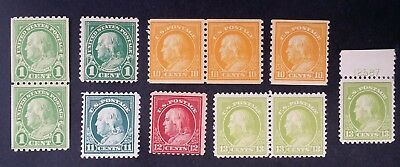 SCARCE 1916-1924 United States lot of 11 Benjamin Franklin stamps Mint & MUH