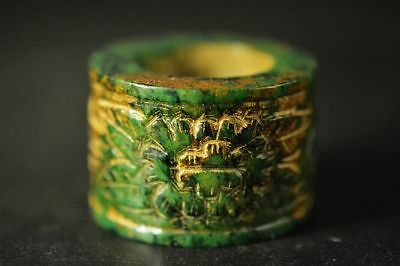 Rare Chinese old green jade Hand-carved *flower* Fingerstall/Thumb Ring  C26